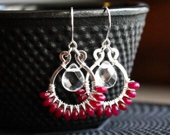 Magenta beaded dangle earrings, dyed jade beads, raspberry, sterling silver, wire wrapped, hoop, boho, chandelier, Mimi Michele Jewelry