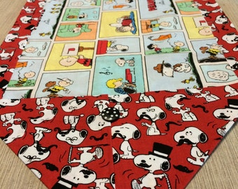 Table Runner - House Warming Gift - Handmade Gift - ** Peanuts and Mustached Snoopy ** Wedding Anniversary Gift  * Second Anniversary Gift