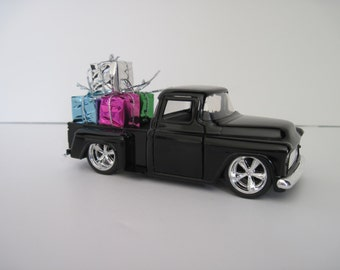 1955 CHEVY STEPSIDE PICKUP Truck, Black - Jada 1/32 Scale - Christmas Decoration, Table Decor - Christmas Presents