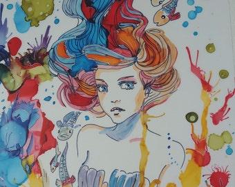 MERMAID and fish original alcohol ink painting 28cm x 22cm artwork on YUPO .