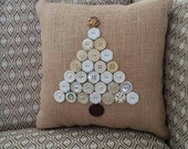 small decorative naturalvburlap pillow with tree from vintage buttons