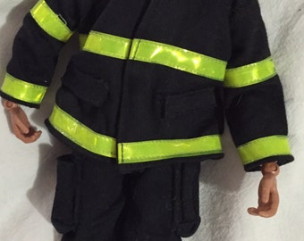 "Firefighter fireman man jointed toy figurine Real Heros  turnout gear NYFD jacket shirt pants hat boots scott air tank 11 3/4"" tall"