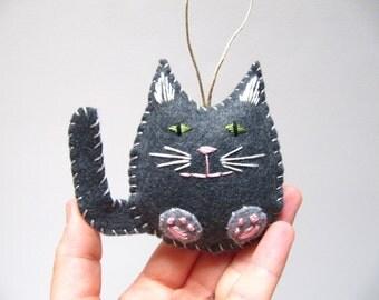 Cat Christmas Ornament, Grey Tabby Felt Cat Ornament, Custom Cat Ornament, Tabby Cat Ornament
