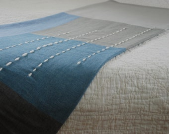 Throw Blanket in Blues + Greys with Wool Embroidery