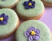 Edible Violets-  Made from Royal Icing in 3 shades of Violet (24)