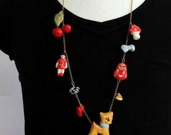 Ceramic pendants, jewelry , handmade , statement necklace, charm necklace , alice, long necklace, elements, unique, Fugi Naim