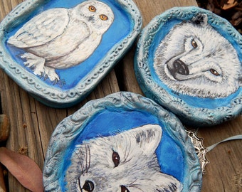 ARCTIC FOX Xmas Ornies Hand Painted Christmas Ornaments Winter Woodland Animals Yule Decor Forest Creature Art Tree Decorations