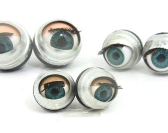 3 pairs , 6 pcs. doll making sleepy Winking flirty blinking metal blue eyes 15mm 20mm, 24mm
