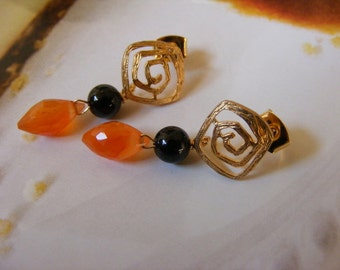 Carnelian and Black Onyx Post Earrings
