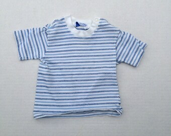 boys 60s 70s vintage striped short sleeve T shirt Carter's kids baby infant shirt medium 6 9 months