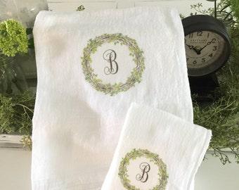 Monogrammed wreath    Flour Sak Towels   Cotton towels   Tea Towels   Farmhouse Towels   Shabbychic Decor   Cottage Home