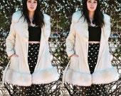 Vintage Coat 70s Fur Collar Coat Faux Fur BOHO Collar Hippie Cream Jacket Shearling Ivory Coat M L