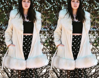 Vintage Coat 70s Fur Collar Coat Faux Fur BOHO Collar Hippie Cream Jacket Shearling Ivory Coat M L
