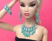 """Doll Jewelry for Silkstone Barbie, Fashion Royalty 11"""" S813 silver & teal"""