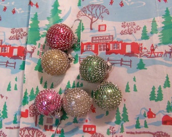 six tiny glass bulbs ornaments