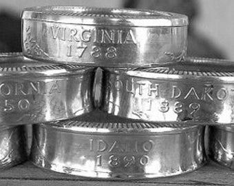 Silver Proof Statehood Quarter Coin Ring (90% Silver) (Available in sizes 4 through 10)