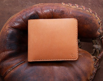 Genuine Baseball Glove Leather Hand Stitched Bifold Mens wallet in Camel (Free Personalization)