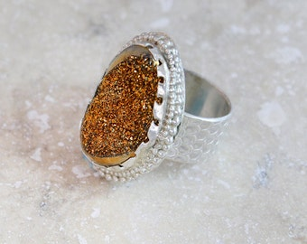 Gold Titanium Drusy Statement Ring in Sterling Silver Size 6