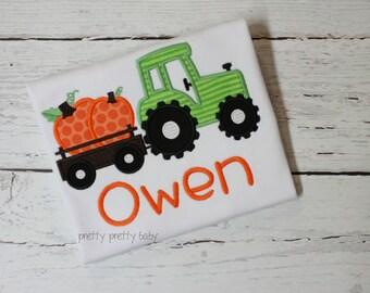 pretty fun for fall pumpkin tractor appliqué shirt