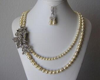Wedding, bridal jewelry, wedding necklace, bridal necklace, pearl necklace earrings, swarovski pearls rhinestones brooch