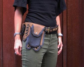 Leather Utility Belt Leather Belt Bag Hip Belt Biker Belt Festival Burning man Belt with Five Pockets in Brown HB26n* Free Shipping*