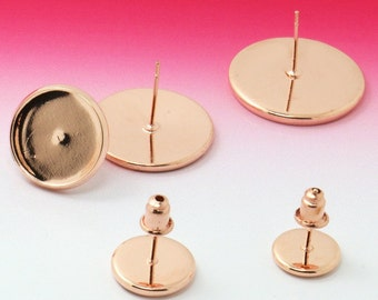50 Blank Post Earrings 8mm/ 10mm/ 12mm/ 14mm/ 16mm Round Bezel Brass Rose Gold Plated Ear Studs W/ Brass Bullet Ear Nuts- Z8425