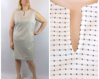 1960s Black and White Dotted Shift Dress - White 60s Shift - XXL 1960s Dress