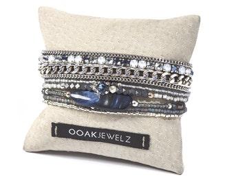 Multistrand silver chain bracelet - denim blue bracelet - jeans blue beaded bracelet with Swarovski crystal rhinestones and hematite beads
