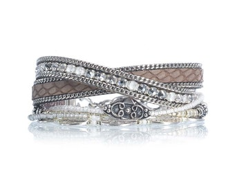 SALE Leather jewelry - taupe leather wrap bracelet with Swarovski crystal - leather bead bracelet - leather cuff - multiple strands bracelet