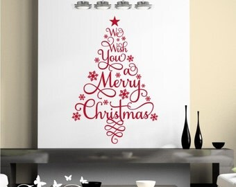 Christmas Tree Decal, We Wish You A Merry Christmas removable wall decal sticker