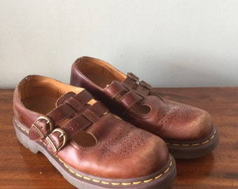 Brown Dr. Martens Mary Jane shoes, Size UK 5/US 7