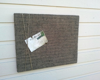 Tweed Burlap and Jute Twine Pin Board for a masculine look made with a herringbone pattern for a mans office or menswear design decor