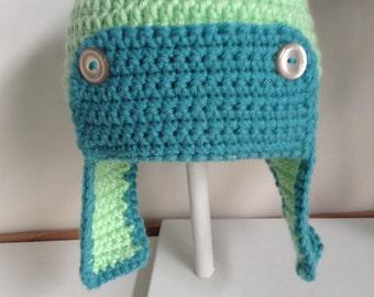 Childs crochet aviator hat