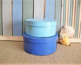 Beach Cottage Chic Balsa Wood Box / Beachy Blues Box Set / Shabby Balsa Wood Box Set for Storage and Organization