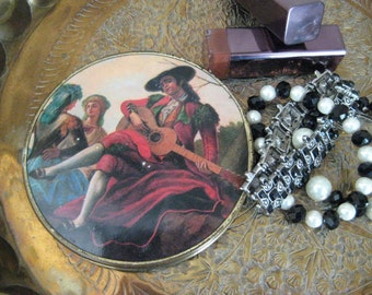 Vintage Mirrored Compact / Charming Mirror with Troubadour / Shabby Compact Mirror for Pocket or Purse