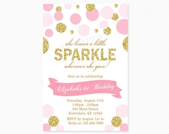 Gold and Pink Sparkle Birthday Party Invitation, She Leaves a Little Sparkle Wherever She Goes, Gold Glitter, Pink, Polka Dots, Printable