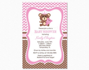 Teddy Bear Baby Shower Invitation, Teddy Bear Invitation, Pink, Brown, Polka Dots, Personalized, Printable or Printed