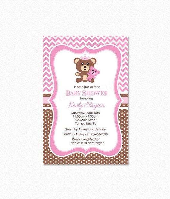 Teddy Bear Baby Shower Invitation Teddy Bear Invitation Pink