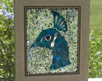 Stained Glass Mosaic Turquoise blue Peacock Window Repurpose Frame