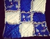 Lovey blanket in Dodger baseball, dodger blue and white minky, blue minky lines the back. baby rag quilt blanket for baby girl or boy