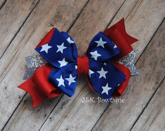 Double layer large classic bow...red, white and blue...4th of July