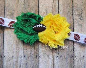 Shabby Headband - Green bay packers colors....newbon....baby...photo prop...football