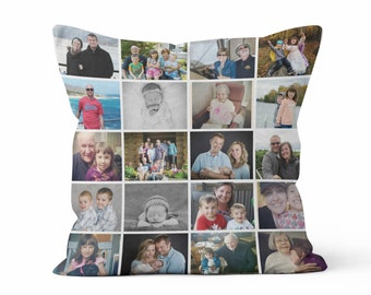 Custom Instagram, Custom Photo Collage or Custom Photo Decorative Throw Pillow Case - Personalized Christmas Gift, Home Decor