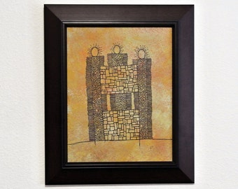 Castle [untitled] original acrylic framed painting/drawing on panel