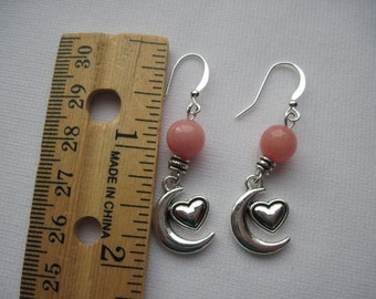 Heart and Moon earrings on hypoallergenic ear wires by ggbeads
