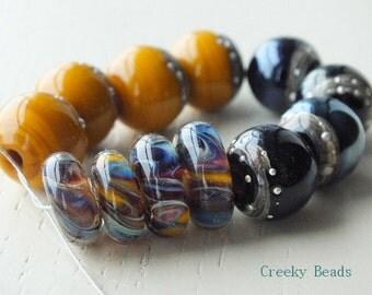 Handmade Lampwork Beads - Mustard & Blue! - Creeky Beads - SRA