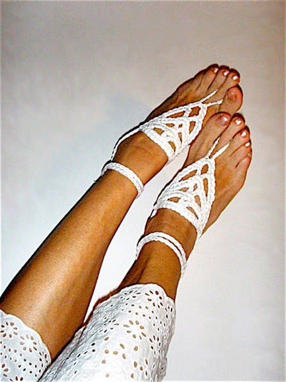 White Barefoot sandals Boho Anklet Bohemian beach wedding  White Hippy Chic Anklets Bridesmaid Women Summer fashion White anklet