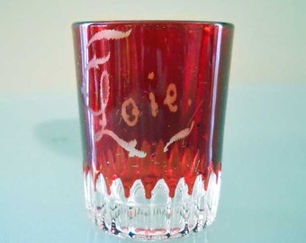 Vintage Shot Glass Red with Loie on Front