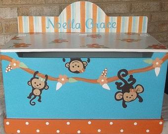 Monkeys, Kids, Toy Chest, Toy Box, Bench, Furniture, Nursery, Toy Bin,  Storage Organization, Custom Kids