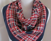"""Echo Lovely Colorful Red White Blue Stripe Silk Scarf  - 24"""" Inch 61cm Square"""